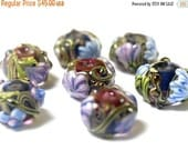 ON SALE 40% OFF Handmade Glass Lampwork Bead Set - Seven Hot Pink w/Purple Floral Rondelle Beads 10108301