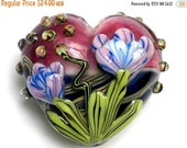 ON SALE 30% OFF 11804225 Grace's Garden Heart (Large) - Handmade Glass Lampwork Beads