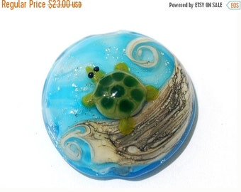 ON SALE 50% OFF Turtle Cove Lentil Focal -11834702 - Handmade Glass Lampwork Bead