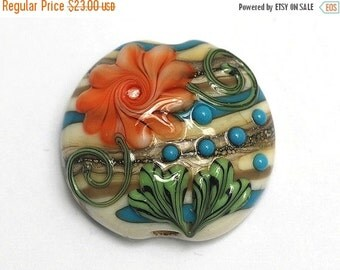 ON SALE 50% OFF Turquoise w/Brown Lentil Focal Bead - Handmade Glass Lampwork Bead 11809202