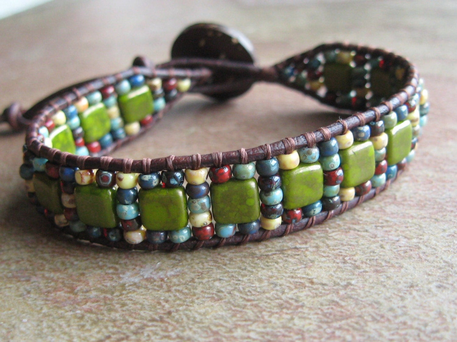 multi color seed bead and tile bead leather bracelet