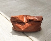 Caramel Distressed Slouchy Leather Clutch