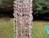 Antique Crystal Wind Chime, Pink Crystal Wind Chime, Outdoor Decor, Window Decor