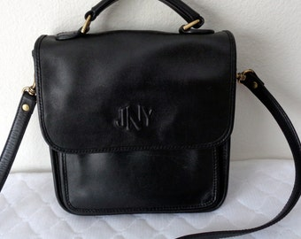 Jones New York handbag in thick butter soft glove tanned leather ,station bag, mailman bag ,cross body purse rare unique