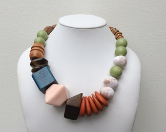 Necklace 2.19 - handmade beaded asymmetrical one of a kind chunky statement necklace featuring vinage lucite wood beads
