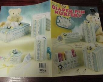 Babies Plastic Canvas Patterns Diaper Pin Nursery Set Annie's Attic 871332 Plastic Canvas Pattern Leaflet