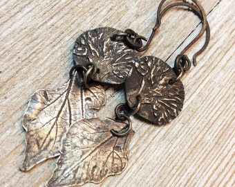 Wondrousstrange Design Mulberry Leaves and Tree of LIfe Pure Silver Earrings