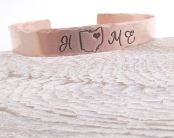 Copper Cuff Bracelet - Home  State Cuff Bracelet - Handstamped Bracelet - All 50 States Available