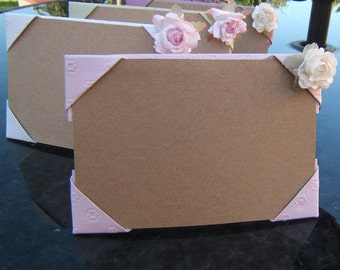 set of 4 pastel embossed origami paper frames - embossed  -  with paper flower