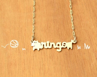 Dog with name -Necklace Chain-Personalized Pet -Sterling Silver-Animal Dog Pendant