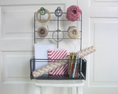 Vintage Metal Shelf Rack Store Display Industrial Black Wrapping Station Peg Board Tape Holder
