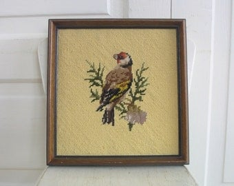 Vintage Needlepoint Embroidered Bird Crewelwork Yellow Art Wall Hanging