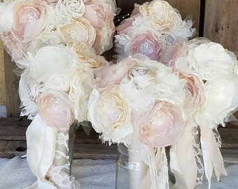 Wedding Brooch Bouquet Package-5 Vintage Bouquets Pink Champagne and Ivory Fabric flower bouquet, alternative fabric bouquets