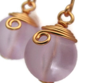 Lavender Earrings, Lavender and Copper Earrings, Frosted Purple Lavender, Retro Orbs