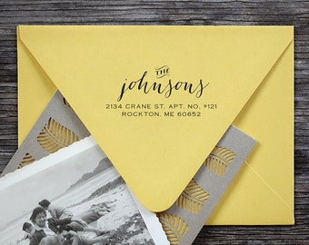 Address Stamp, Return Address Stamp, Self Inking Address Stamp, Custom Address Stamp, Floral Stamp, Save the date stamp - 3001