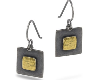 Fused Gold Square within Square Earrings