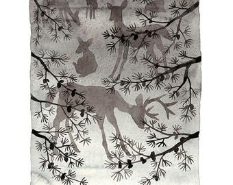 Grazing Deer Print, giclee art print, woodland animal illustration, silhouettes