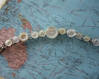 Vintage Button Bracelet in Creamy Whites and Mother of Pearl