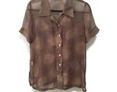 Sheer Vintage Blouse, Brown Tan Spray Patterned Sheer Blouse, Short Sleeve Blouse, Abelone Buttons, Unique Vintage Tunic Blouse, Side Slits