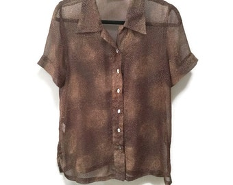 Sheer Vintage Blouse, Brown Tan Spray Patterned Sheer Blouse, Short Sleeve Blouse, Abelone Buttons, Unique Vintage Tunic Blouse, Side Slits