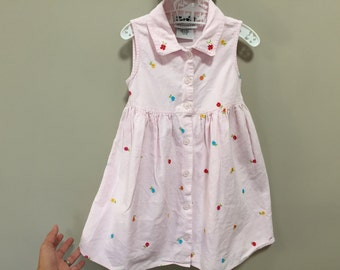 Vintage Girls Dress, Pink Sleeveless Dress Embroidered Pink Dress Girls Vintage Dress Floral Dress Cute Vintage Kids Clothes 4 Toddler Dress