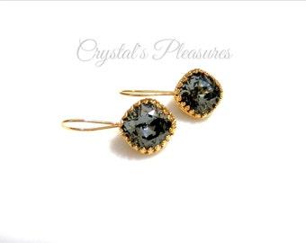 Gold Crown Bezel Crystal Silve Night Black Swarovski Crystal Element Earrings