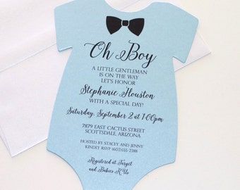 Baby Shower Onesie Invitation   Blue Shower Invitation   Baby Boy Invitation    Bow Tie Invitation