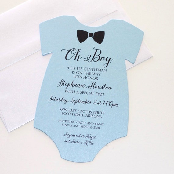 baby shower onesie invitation blue shower invitation baby
