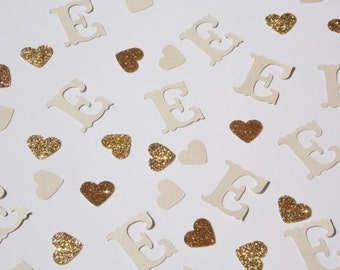 Ivory Monogram Confetti, Wedding Shower Decor, Wedding Reception Table Scatter, Bridal Shower Decoration, Glitter Hearts