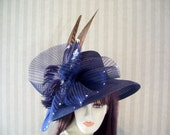 "Navy Kentucky Derby Hat, Preakness, ""Wings"" Belmont, Victorian, Ascot Races Hat By Ms.Purdy"