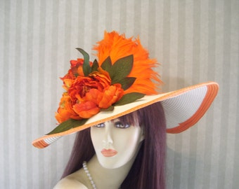 "Kentucky Derby Hat, Big Brim Hat, ""Dreamsicle"" Tea party, Ascot, Preakness, By Ms.Purdy"