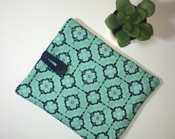 iPad Case, iPad Cover, Tablet Case, Aqua and Navy iPad Case, Fabric iPad Case, Gift Idea