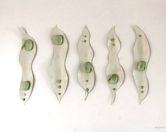 Fava Beans Painting - Sculptural 3D Broad Beans Pale Green Kitchen Picture Wall Art - 50% SALE