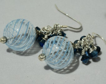 Pale Blue Earrings,  Deep Blue Crystals, Round Navy Blue Dangles, Hand blown Glass Earrings, Sterling Silver and Blue Earrings, Blue Jewelry
