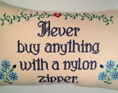 Embroidered Pillow - custom designed - Literary Quote