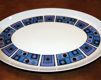 Vintage Wyndham Casuals Platter One Two Purple Blue Geometric Mid Century - Japan