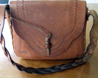 Vintage 1970s Tooled Leather Handbag Braided Strap