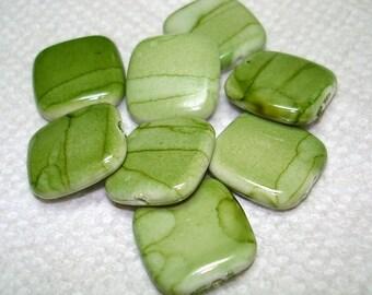 Green Striped Acrylic Square Beads (Qty 8) - B3042