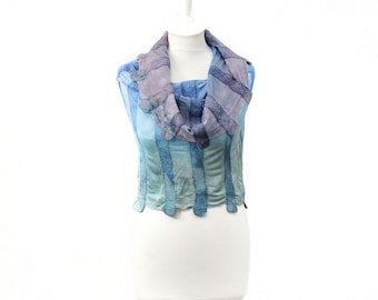 Felted scarf, scarf, hand painted, dyed,silk knitted, women, gift, art, leaves, designer, kate ramsey, light blue, pastel, snood, cowl,