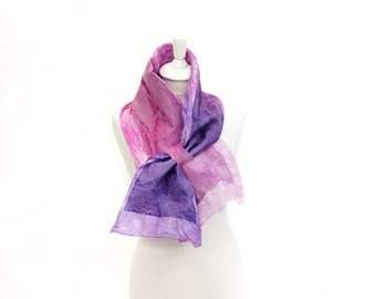 felted scarf, silk scarf, scarflette, accessories,  kate ramsey, fabulousfelt, neckwear, short scarf, neckpiece, small scarf, pink purple