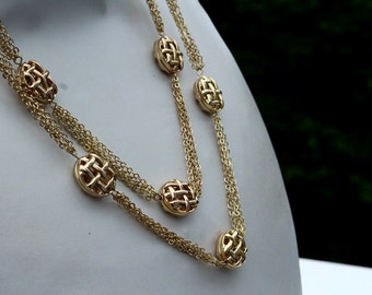 Long Gold Fancy Necklace