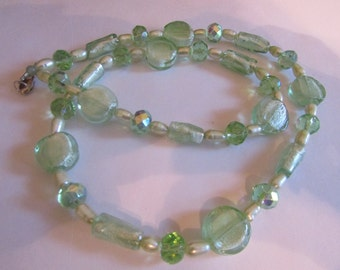 frosty green glass necklace