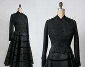 ON SALE Taffeta & Velvet 2pc . 1940s Two Piece Set Vintage Formal Wear
