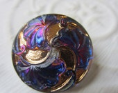 Vintage Style Button - 1 beautiful large, Czech pressed glass hand painted, ginko leaf iridescent design, (lot C 19)