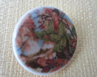Vintage Collector Porcelain hand painted Japanese geisha girls with cherry blossoms , Birchcraft England stamped( aug 73B )