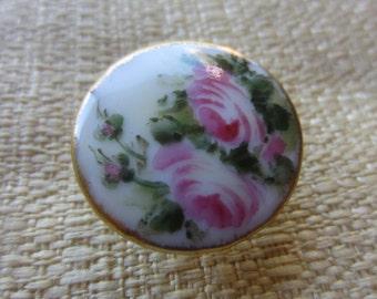 Vintage Cottage Chic Porcelain hand painted rose with gold rim, stud back button(feb 96B )