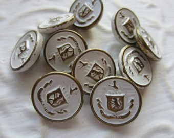 Vintage Buttons -10 matching white washed bronze crested metal buttons,(mar65)
