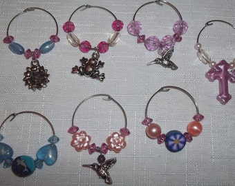 Spring Wine Glass Charms, Set of 7