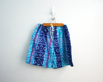 vintage 80s Neon Speedo Surf Board Shorts Batik Style Cotton Shorts Sz Large