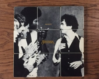 SANTANA recycled Inner Secrets album cover coasters and record bowl